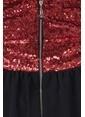 İroni V Yaka Payetli Mini Abiye Elbise  Kırmızı